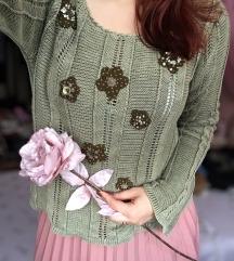 RÜTZOU maslinasti končani džemper sa cvetovima