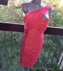 Divna Patent koral haljina sa sljokicama