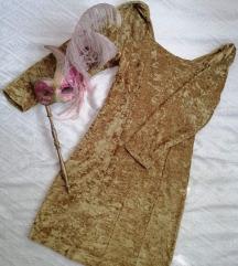 Zlatna plišana haljina