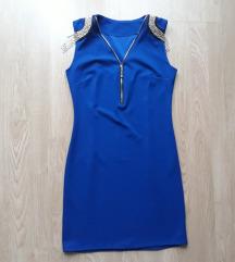 Teget plava haljina sa lancima na ramenimaSNIŽENO