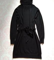 Crna haljina rolka sa pojasom viskozno pletivo
