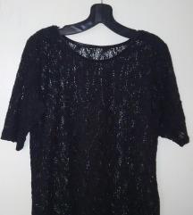 Crna cipkasta majica sa koznim okovratnikom