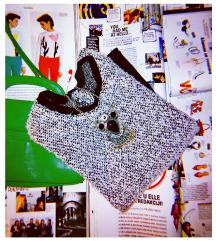 Crno-beli džemper-tunika; M-L