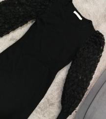 Crna haljina sa providnim PUF rukavima