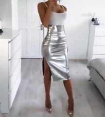 Nova srebrna metalik suknja