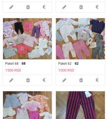 Paketi za bebu devojcicu 56, 62, 68