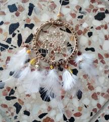 Zlatno-beli hvatac snova - privezak