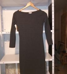 Nova HM tamno siva haljina od rebrastog pamuka