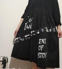 Crna nova haljina sa printom