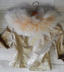 GUESS zlatna jakna sa premekanim krznom