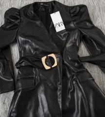 rezz Zara faux kozna haljina sa puf rukavima