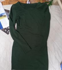 H&M tamno zelena uska haljina dugih rukava S/M