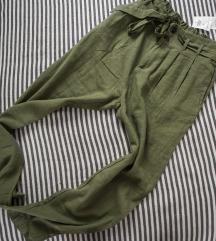 Rezz zelene lanene CLP pantalone, vel. XS
