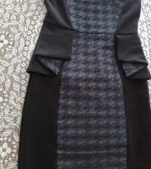 Strukirana uska peplum haljina XS 34