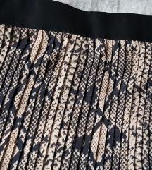 Snake print plisirana midi suknja