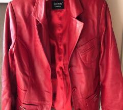 Kožna jakna, crvena