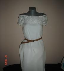 JANINA bela haljina golih ramena XS/S