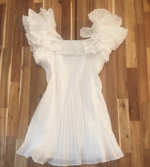 rezZara novo, plisirana bela haljina vel.S