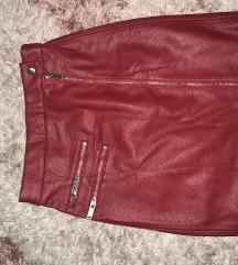 Bershka kozna crvena suknja