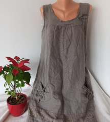 Lanena haljina sa cipkom vel M