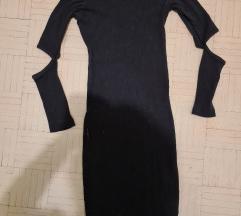 Crna haljina od rebrastog pamuka