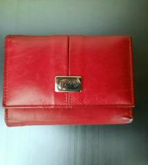 Crveni kožni ženski novčanik
