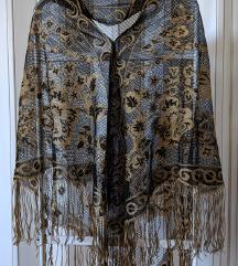 Prelepa crno-zlatna svecana ruska marama
