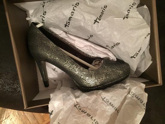 Tamaris kozne srebrnkaste cipele