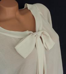 C&A ❁ prozirna baršunasta šampanj bluza sa mašnom