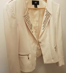 H&M prljavo beli/ svetlo bež sako sa nitnama 38