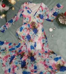 Cvetna elegantna haljina, leprsava, prelepa!