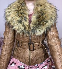 Braon jakna sa krznom