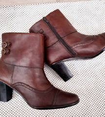 Braon plitke čizme- prirodna koža