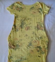 Žuta cvetna haljina za svaki dan
