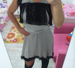 AMISU srebrna haljina sa resama M