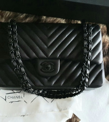 Chanel classic flap medium chevron so black tasna