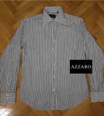 AZZARO bela na prugice muška košulja