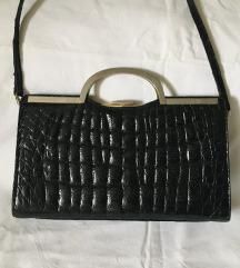 Vintage lakovana kroko kožna torba