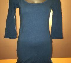 Plava haljina 3/4 rukav uska