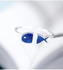 Srebro 925 - podesivi prsten plava riba