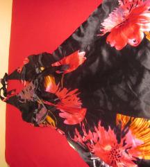niche satenska haljina crna cvetna može zamena