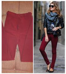 Dubok struk, bordo skinny pantalone