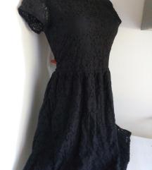 H&M crna cipkana haljina M