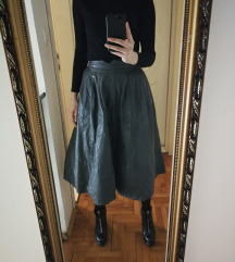 Siva kozna duboka suknja