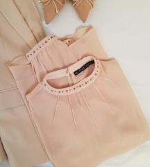Zara puder roze, transparentna bluza