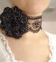 Čoker ogrlica čipka ruža