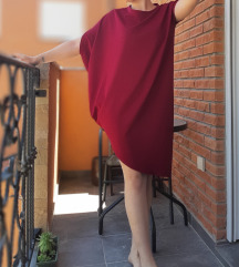Nova baggy asimetricna bordo haljina PTT GRATIS