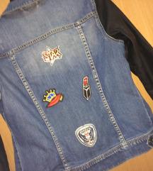 teksas jakna sa bedzevima i koznim rukavima
