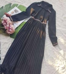 Crna duga plisirana haljina