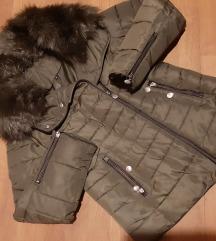 Maslinasta zimska strukirana jakna sa krznom